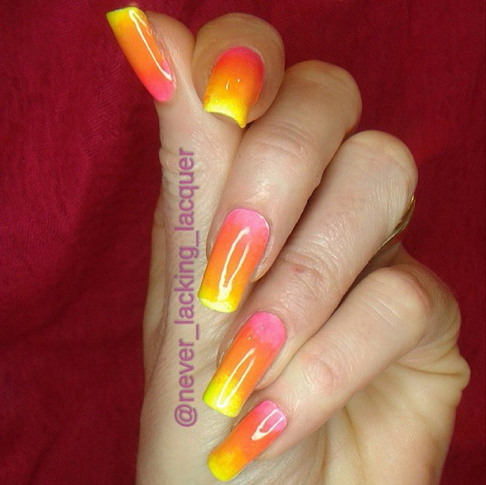 Never Lacking Lacquer: neon gradient using Vivien Kondor Neon Pink and Neon Yellow (and others).