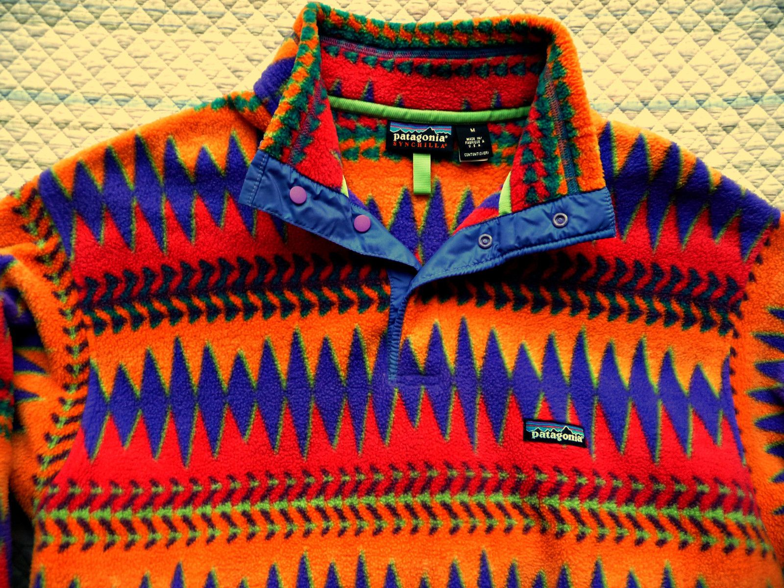 2b2d2b0a Vintage Patagonia Retro Colorful Synchilla Fleece Snap T Pullover Jacket M  | eBay