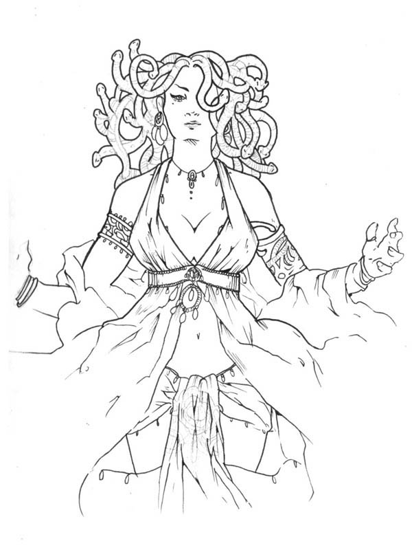 Medusa Is A Beautiful Lady Coloring Page Netart In 2020 Greek Mythological Creatures Coloring Pages Color