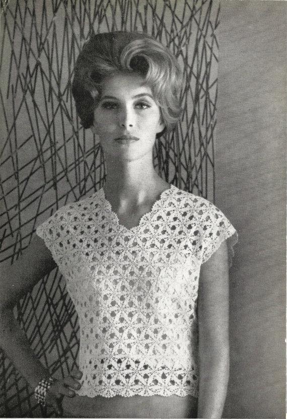 1960s Crochet Top Pattern With Lace Motif Vintage Patterncrochet