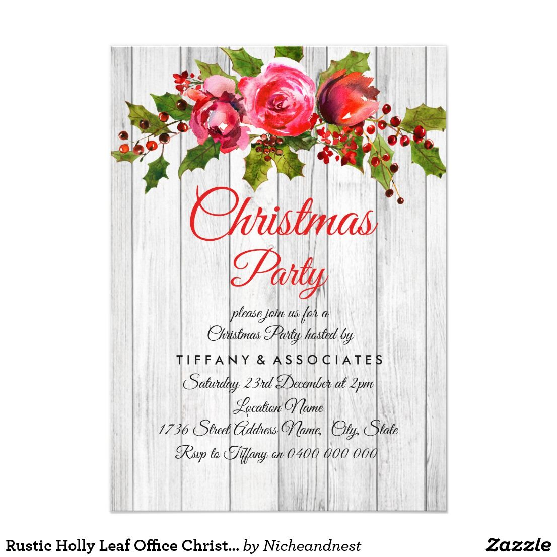 rustic holly leaf office christmas party invite