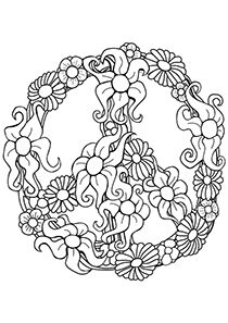 Flower Peace Sign Coloring Pages Flower Coloring Pages Adult Coloring Pages