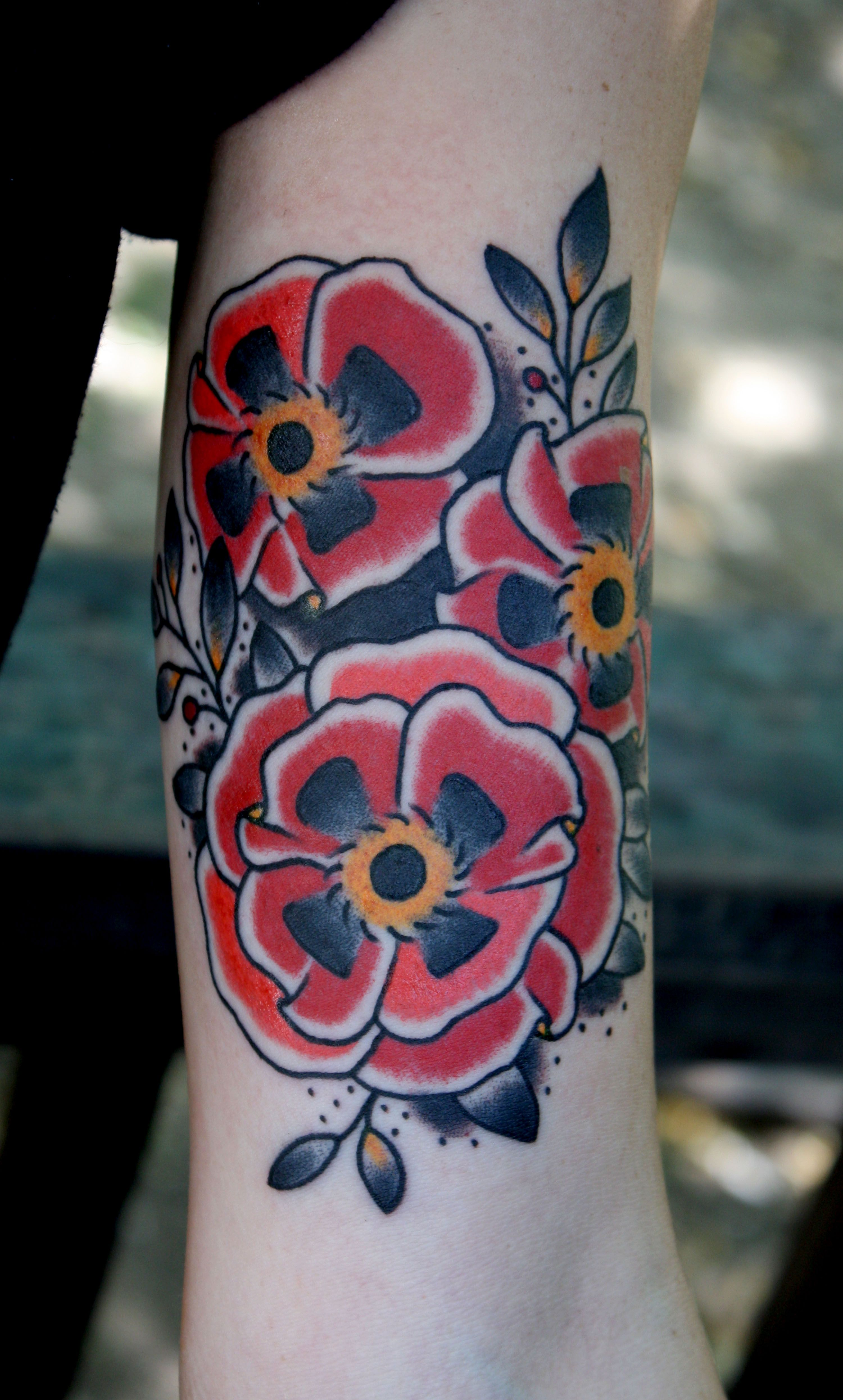 Myke chambers traditional poppy tattoo poppies tattoo