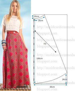 df27d1c8b Moldes para Todo: Falda Larga | costura | Patrones de falda larga ...