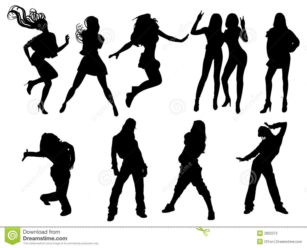 Female Hip Hop Clip Art | Silhueta das meninas de dança ...