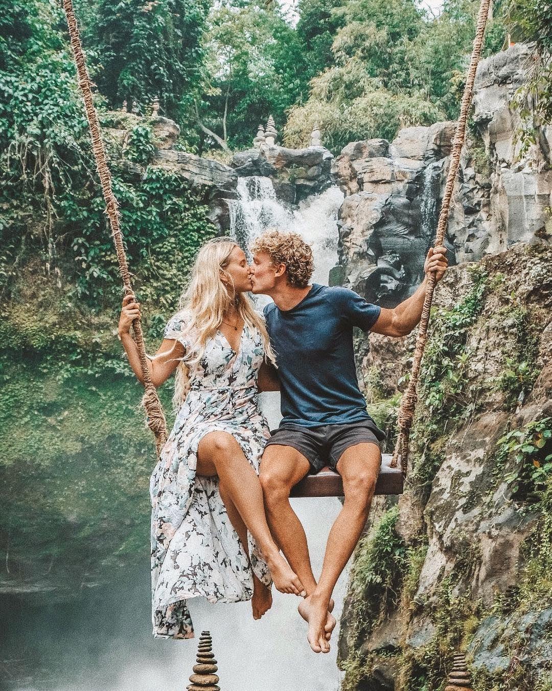 Merel Gebe on Instagram @merelgebe #merelgebe tegenungang waterfall bali swing dress love couple goals travel inspo ideas summer cute