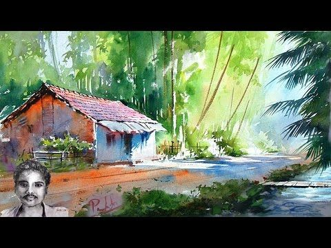 Watercolor Painting For Beginners Village Mud House Scenery Tutorial By Nihar Debnath Youtub Watercolor Landscape Paintings Watercolor Scenery Water Painting