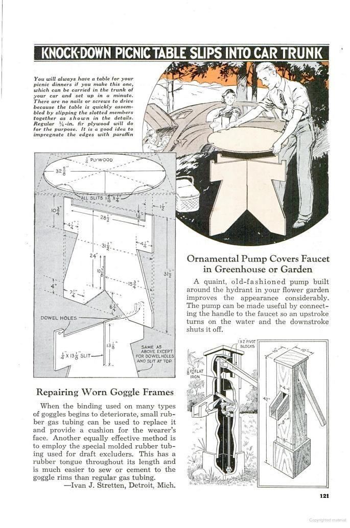 July Popular Mechanics KnockDown Picnic Table Google Books - Popular mechanics picnic table