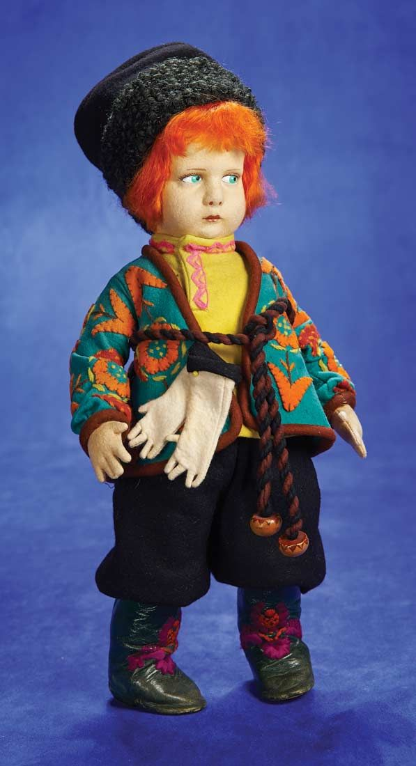 """. Italian Felt Red-Haired Russian Boy,300 Series,by Lenci 17"""" (43 cm.) Felt swivel head with pressed and painted facial features,green side-..."""