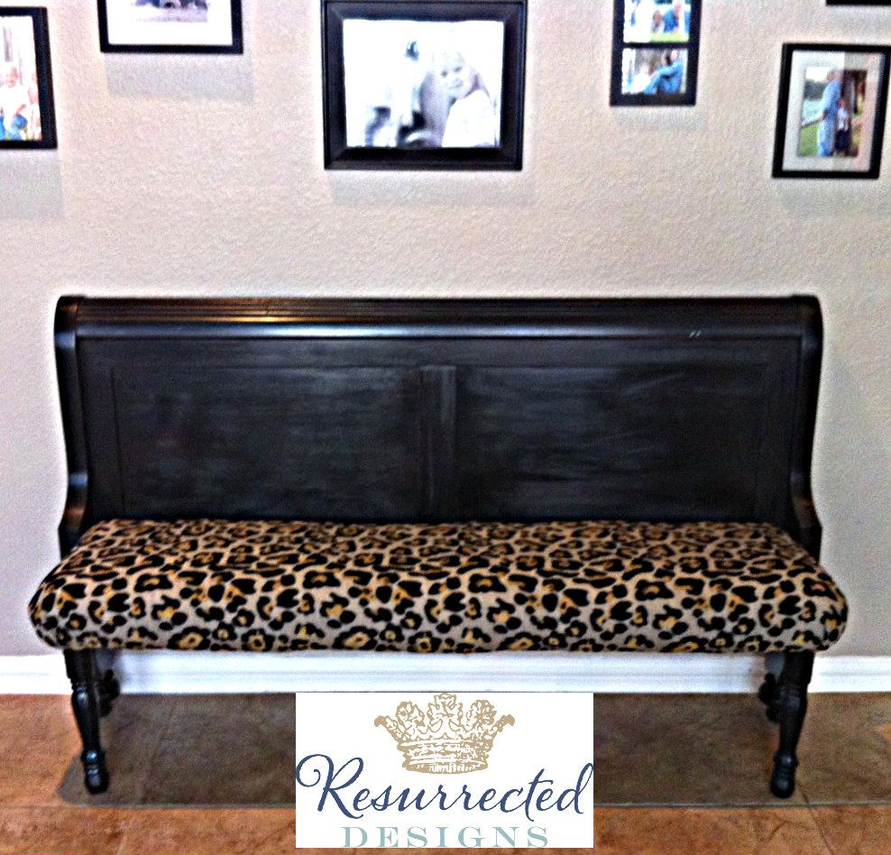 Bench Made From Sleigh Bed Footboard Church Pew Inspired Love The Animal Print Fabric Find Me