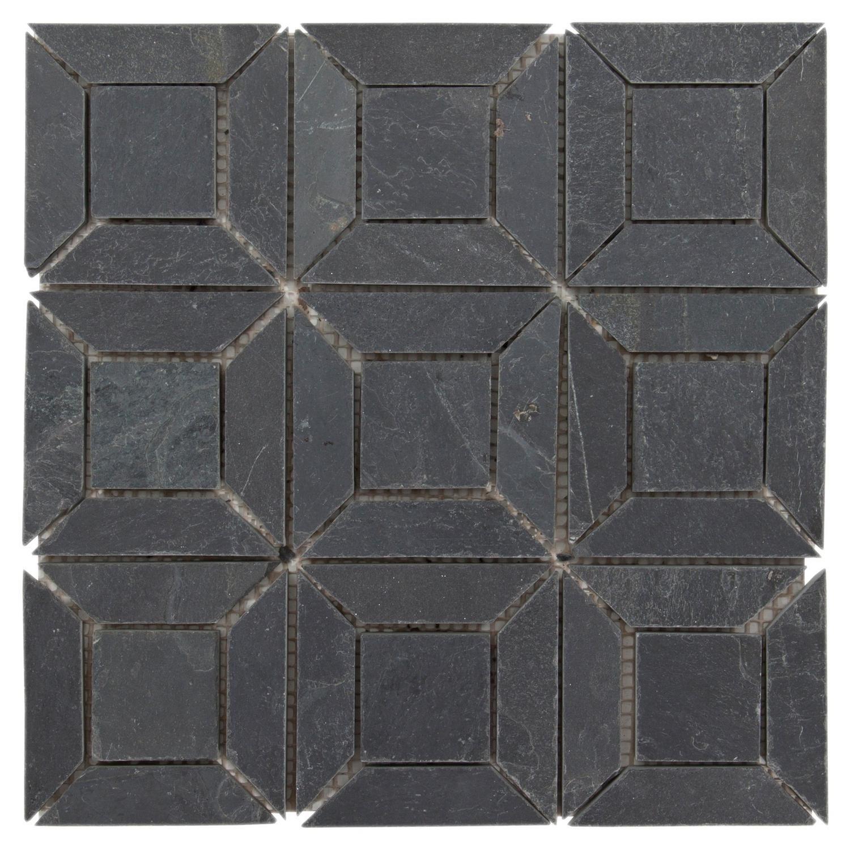 Brushed Squares Slate Mosaic Floor Decor Mosaic Flooring Slate Tile Floor Flooring