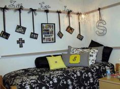 Awesome White IKEA Dorm Bedroom Decorating Ideas With Beautiful Corner Bed That Have Flower Pattern Black Bedding Complete The Pillows And Creative
