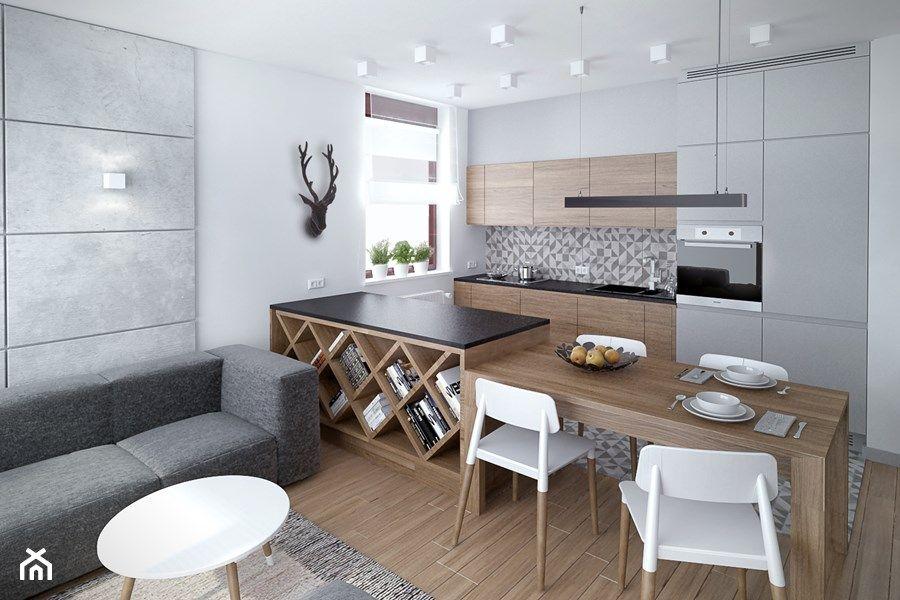 Aranzacje Wnetrz Kuchnia Szarosc Ocieplona Drewnem Mala Otwarta Biala Kuchnia Jednorzedowa W Kitchen Inspiration Modern Home Decor Kitchen Kitchen Design