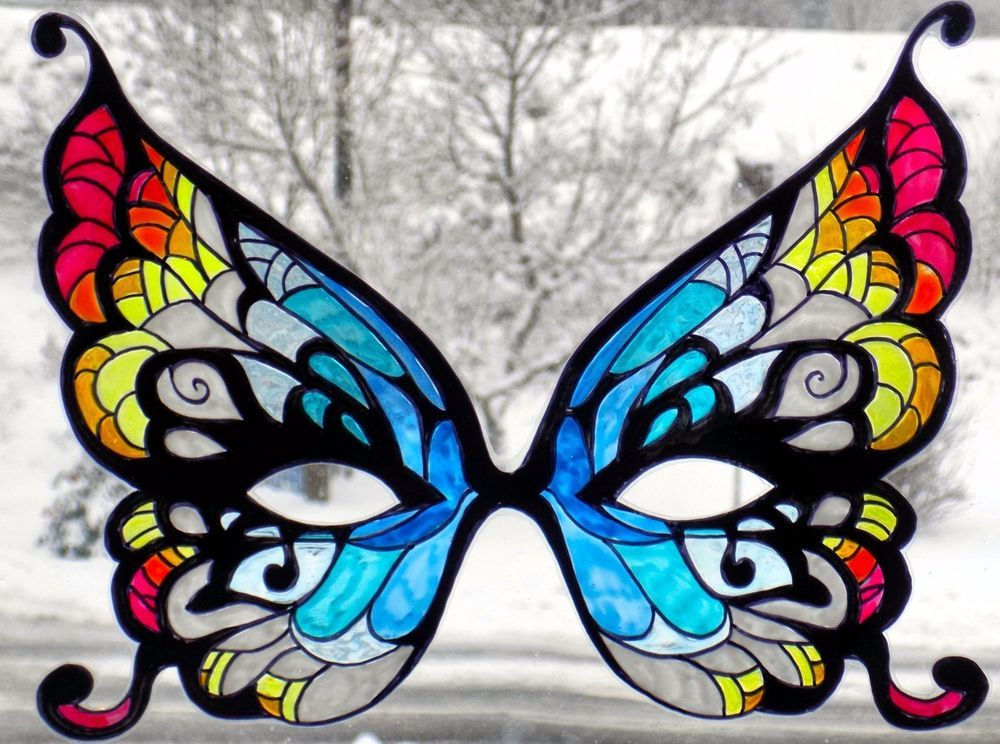 Wicoart window color sticker static cling peint main - Masque papillon carnaval ...