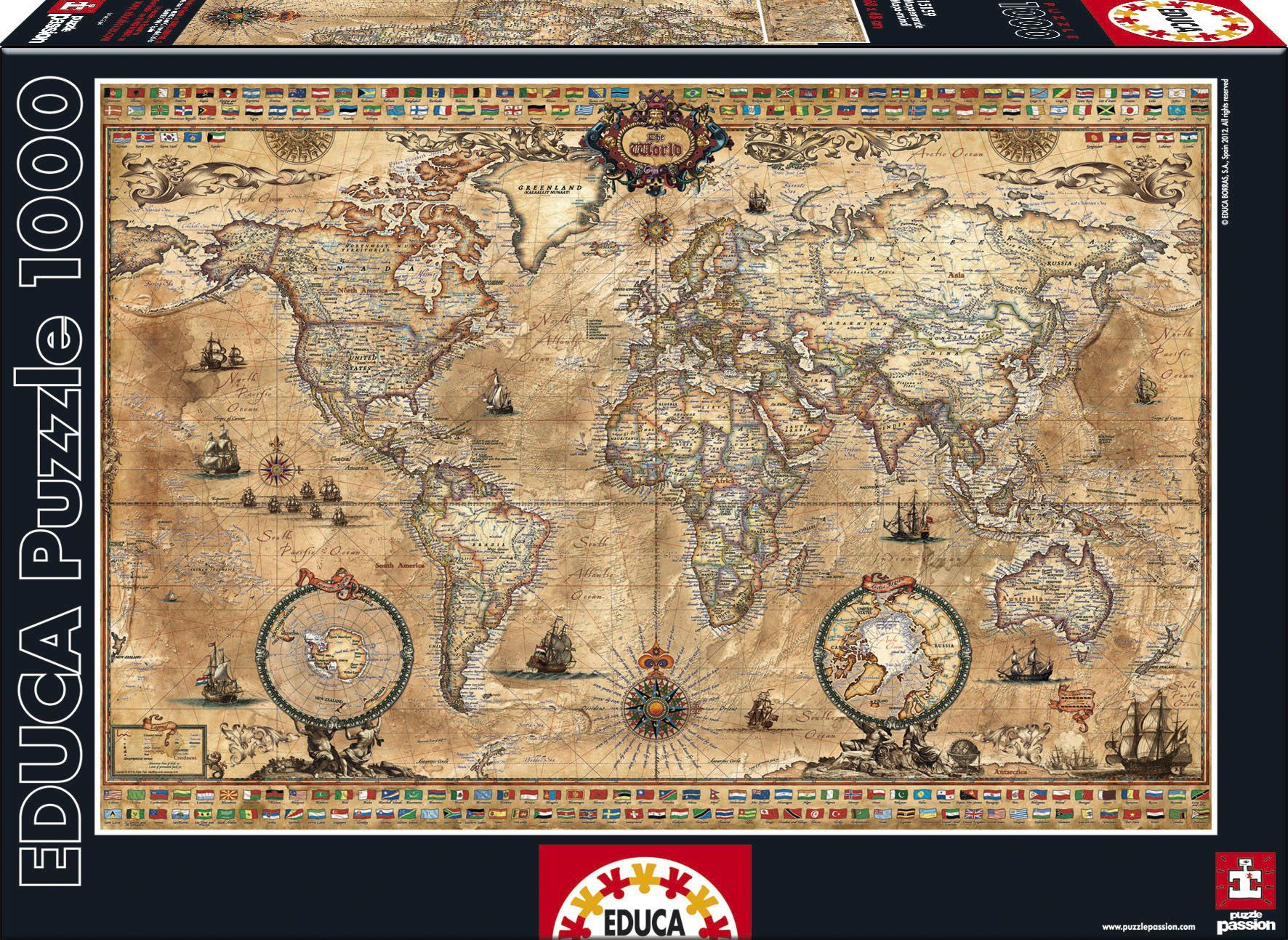 Amazon antique world map 1000 piece puzzle toys games amazon antique world map 1000 piece puzzle educa toys games gumiabroncs Gallery