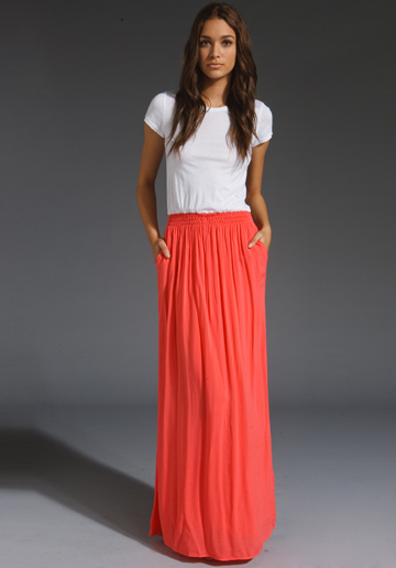 easy. long coral skirt