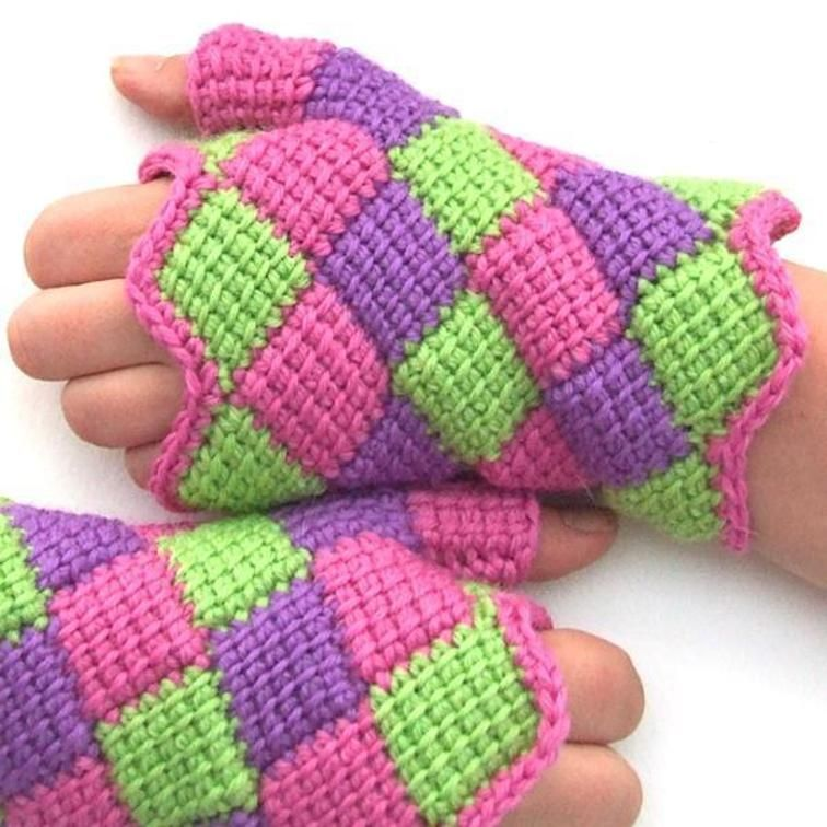 Entrelac Crochet Fingerless Gloves Fingerless Gloves Gloves And