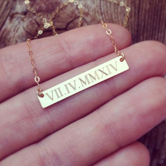 gift date for yy necklace initials qx memorial bride wedding numerals handmade chains anniversary roman