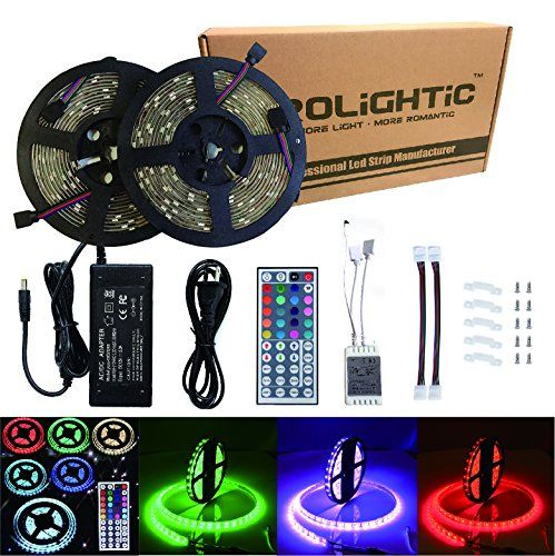 Rolightic Led Strip Lights Kit Waterproof Smd 5050 328 Ft 10m 300leds Rgb Light Strip With 44key Ir Controller And Led Strip Lighting Strip Lighting Led Strip