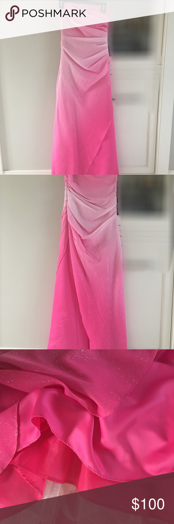 Pink ombré formal prom dress with sparkles size formal prom