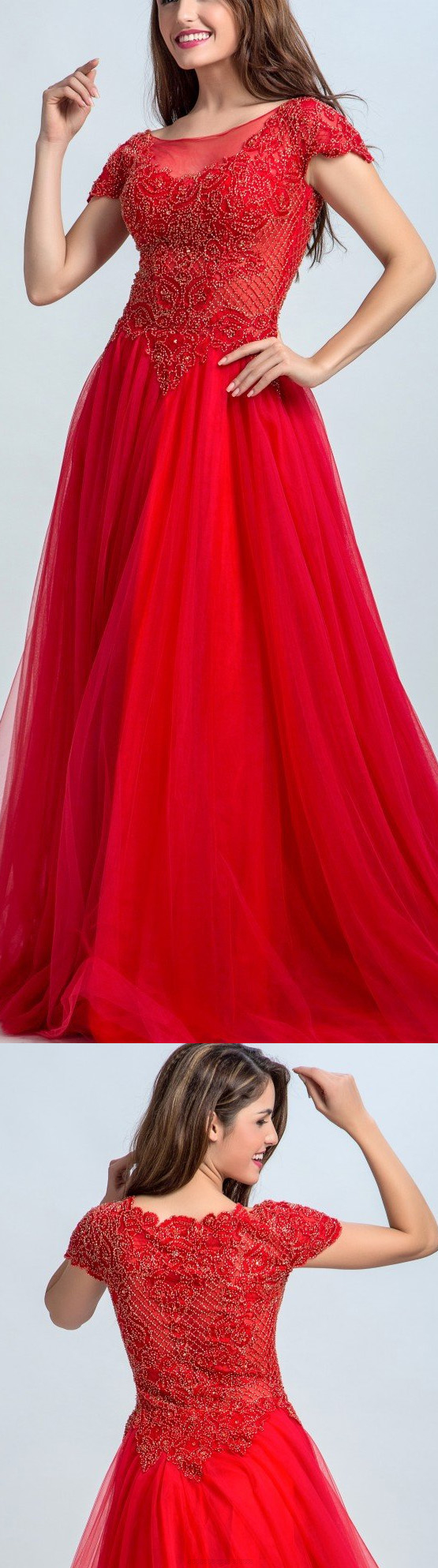 Bateau Evening Dresses Red Long Prom Dresses Red Color Aline