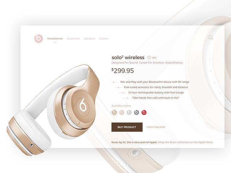 Hi Dribbblers, I rebounded myself :-) I tried beats product card in some different way. Don't you like this beautiful combination of gold & pink? Chech full resolution image on my Behance so yo.... If you like UX, design, or design thinking, check out theuxblog.com