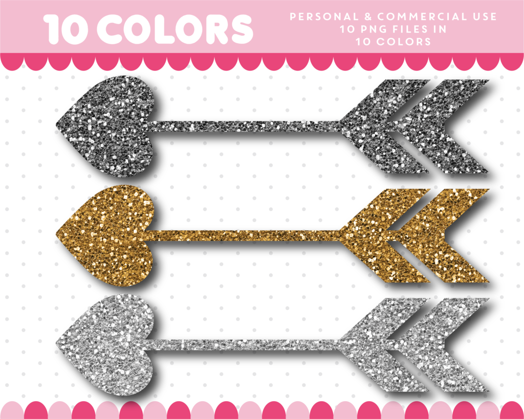 Heart arrow clipart in gold and silver glitter, Glitter ...