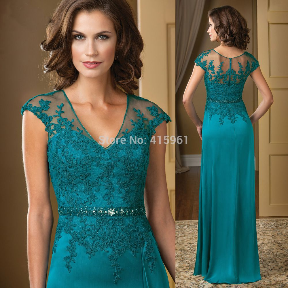 Vestido mae da noiva Hunter Elegant V Neck Lace Mother of the Bride ...