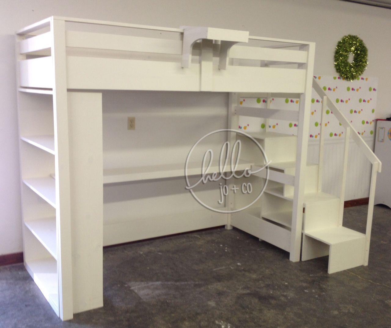 hello jo + co custom twin loft with desk & shelf & cubbie