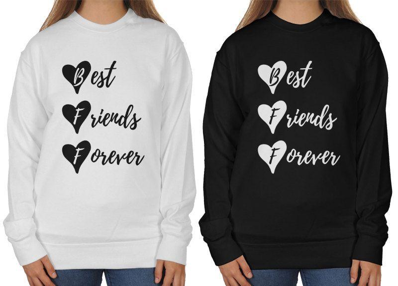 Bluzy Dla Przyjaciolek Bff Best Friends Forever In 2021 Best Friends Forever Graphic Sweatshirt Friends Forever
