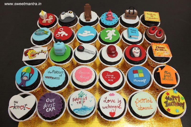 30 Customized Designer Cupcakes For A Husbands 30th Birthday By