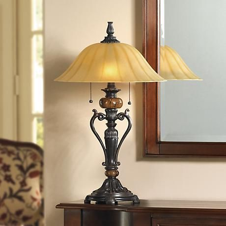 Amor Collection Glass Shade Accent Table Lamp In Bronze R9411 Lamps Plus Traditional Table Lamps Classic Table Lamp Table Lamp