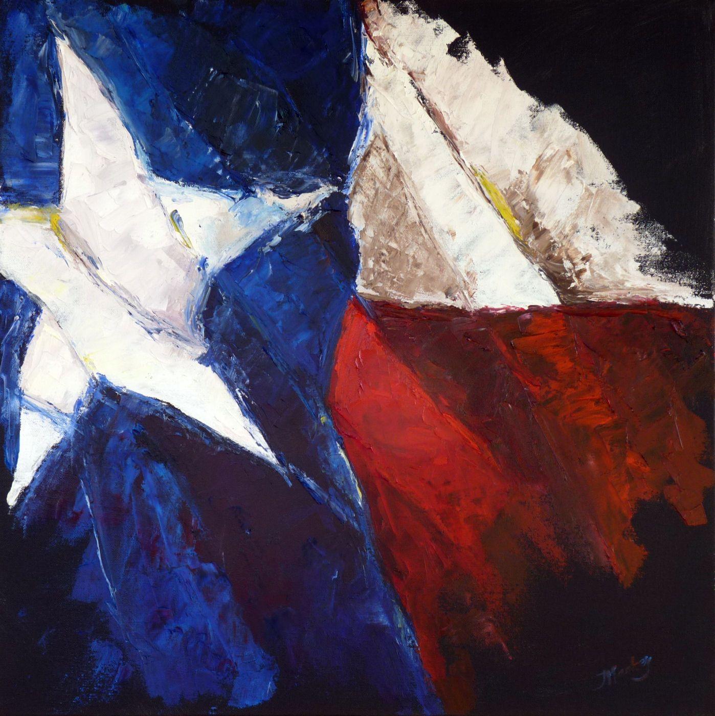 Texas Flag Palette Knife Painting By Judy Mackey Texas Art Texas Star Texas Flags