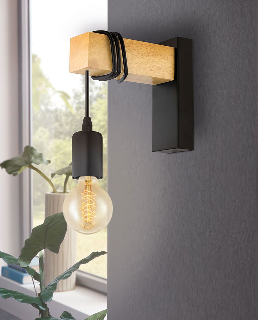 Eglo Townshend Vegglampe Eik Sort Designbelysning No Vegglampe Vegglamper Lamper