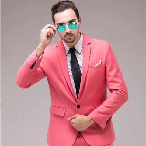 2017 New Men Pink Slim Fit Men/'s Formal Casual Wedding Dress Suits Jacket Pants