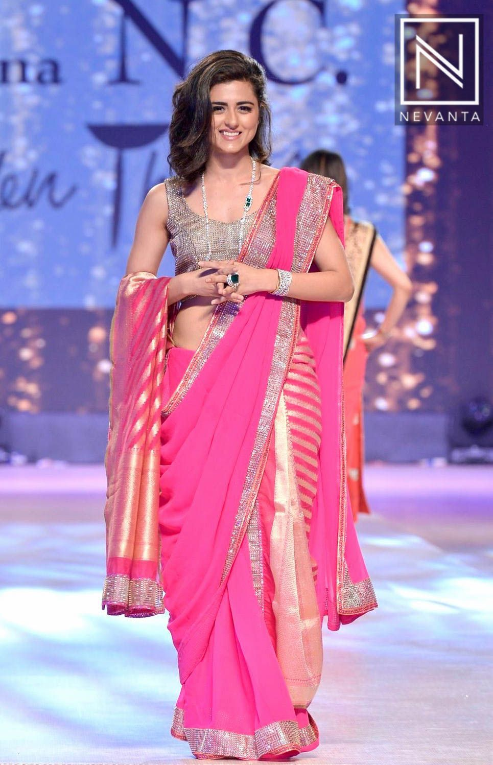 b409f0c9610199 #RidhiDogra looked pretty in #pink saree and a silver blingy blouse by  #ShainaNc