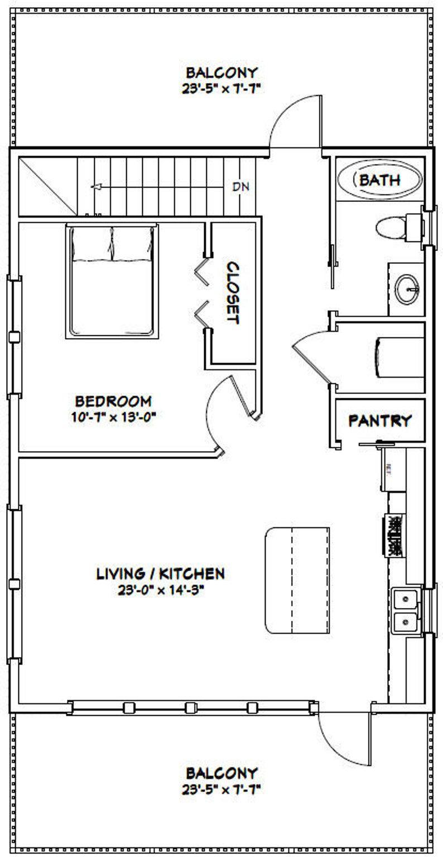 24x32 House 1 Bedroom 1 5 Bath 851 Sq Ft Pdf Floor Plan Instant Download Model 7d Small House Floor Plans Barndominium Floor Plans Tiny House Floor Plans
