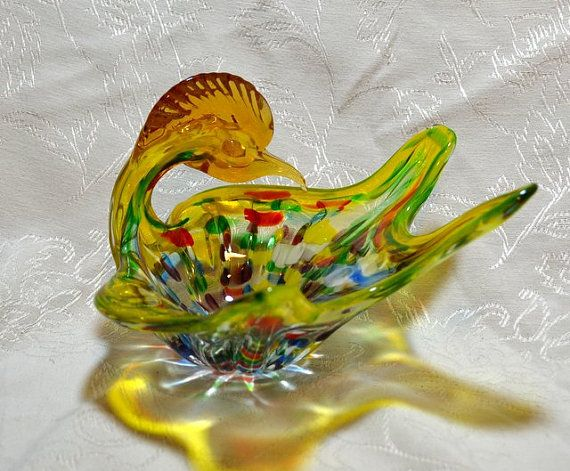 Art Glass Roadrunner Bowl Psychedelic Murano by ChicMouseVintage