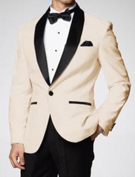 1c6806ee5df Mens Ivory ~ Cream ~ Off   Black Lapel White Shawl Collar Tuxedo ...