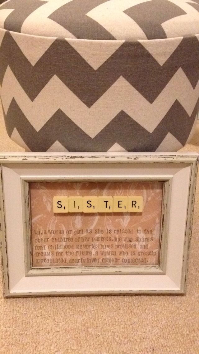 Sister word art using scrabble tiles! Lovely Feather craft