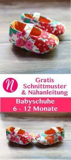 Babyschuhe Freebook - zum selber nähen - 6 - 12 Monate #sewingbeginner