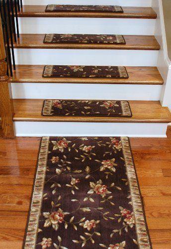 Best Premium Carpet Stair Treads Chocolate Spring Blossoms 400 x 300