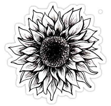 'Black and White Sunflower' Sticker by juliahealyy