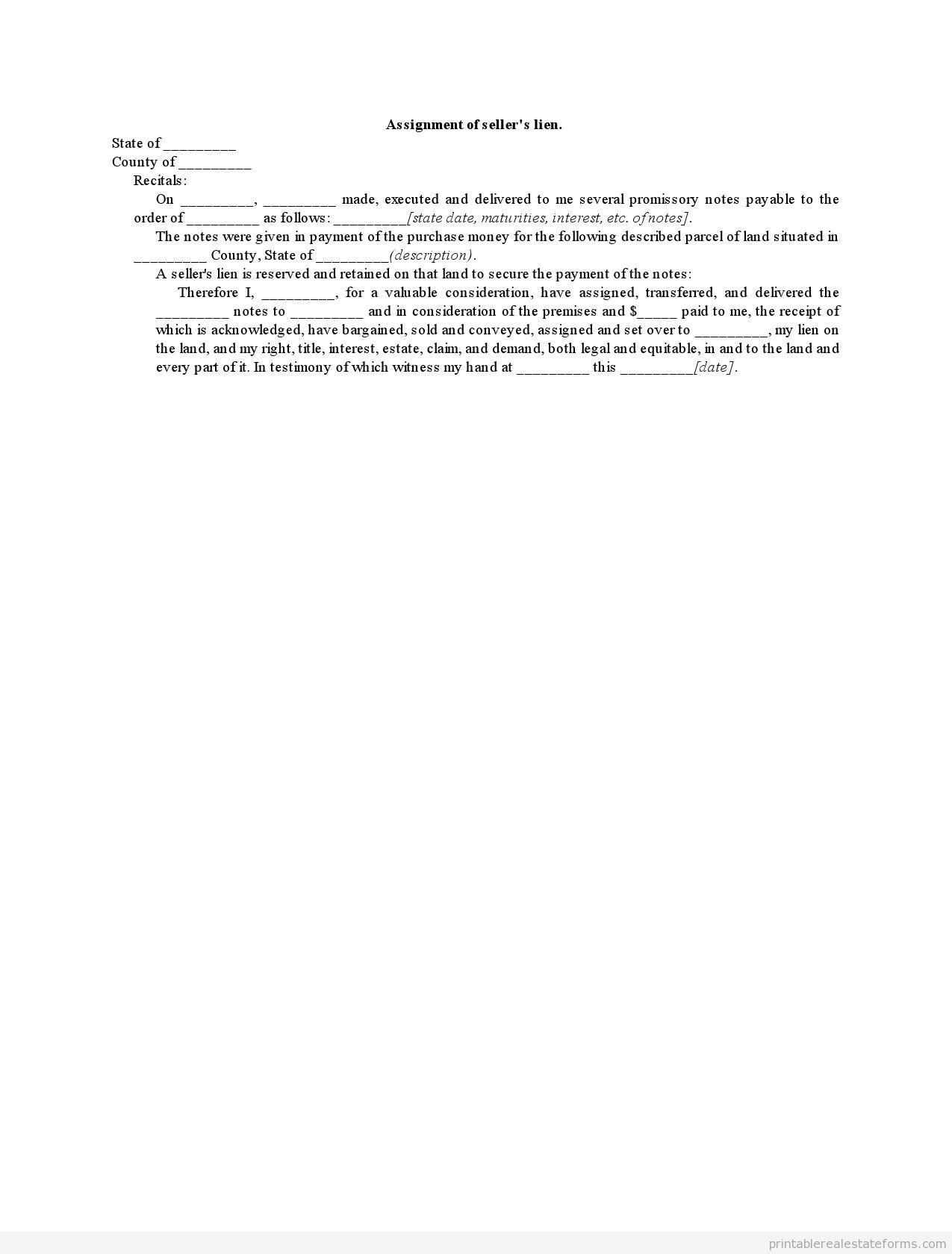 Sample Printable Assignment Of Sellers Lien Form  Sample Real