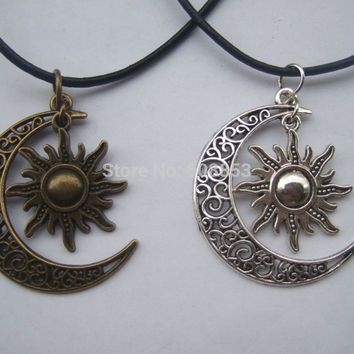 Fashion Crescent Moon And Sun Charm Pendant Black Leather Boho Colar Hippie…