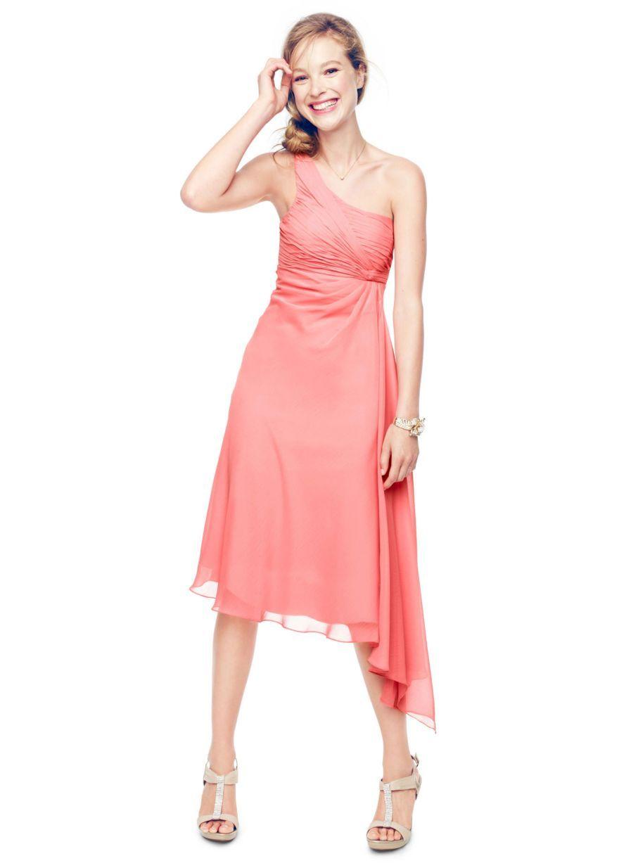 Short One Shoulder Crinkle Chiffon Dress - David\'s Bridal ...