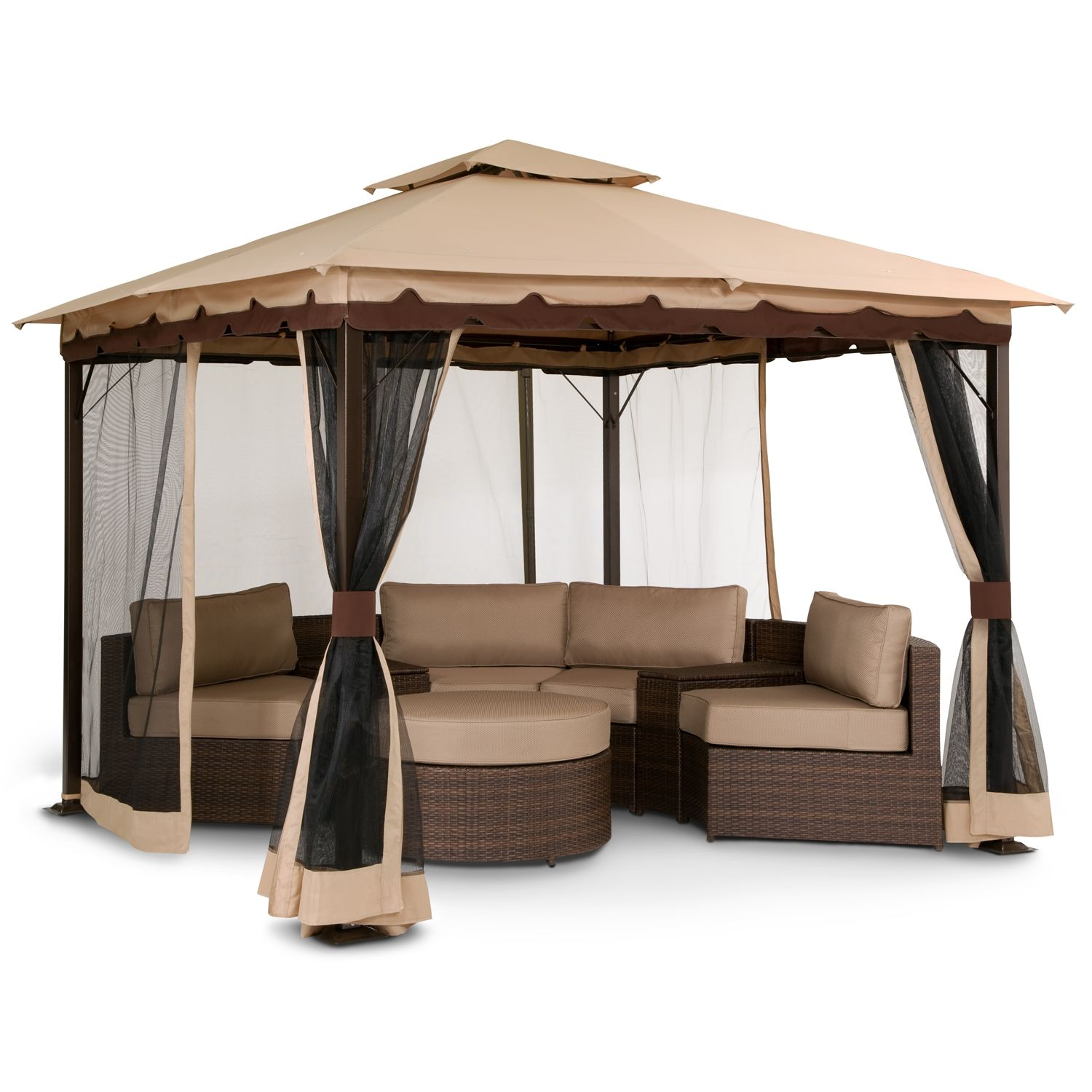 We need this gazebo so bad omg patio bali gazebo with for Outdoor furniture gazebo
