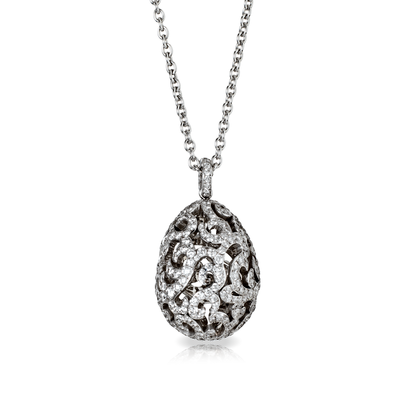 Oeuf duchesse blanc this egg pendant is made in white gold set oeuf duchesse blanc from the les impratrices series of the les favorites collection of faberg egg pendants set in 18 carat white golf aloadofball Gallery