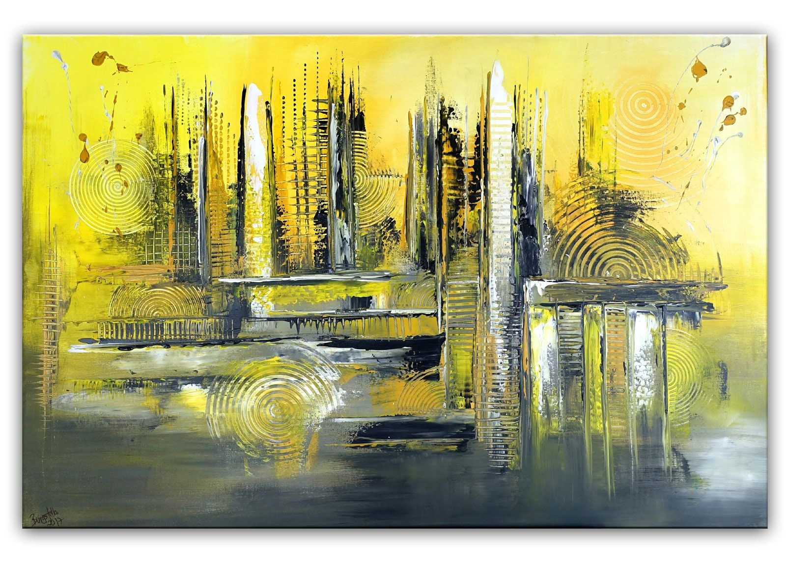 skyline grun gelb abstraktes kunst bild handgemalt abstrakt abstrakte bilder geometrische formen