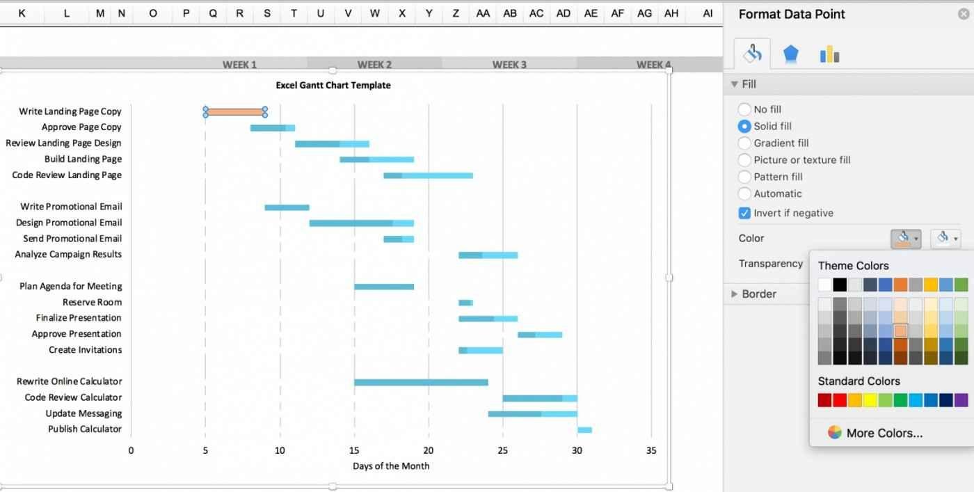 Project Management Excel Gantt Chart Template Free In 2020 Gantt